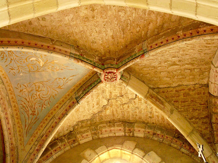 Levroux Photograph - Vaulted Ceiling In Collegiate Church Of Saint Sylvain Levroux France by Randi Kuhne