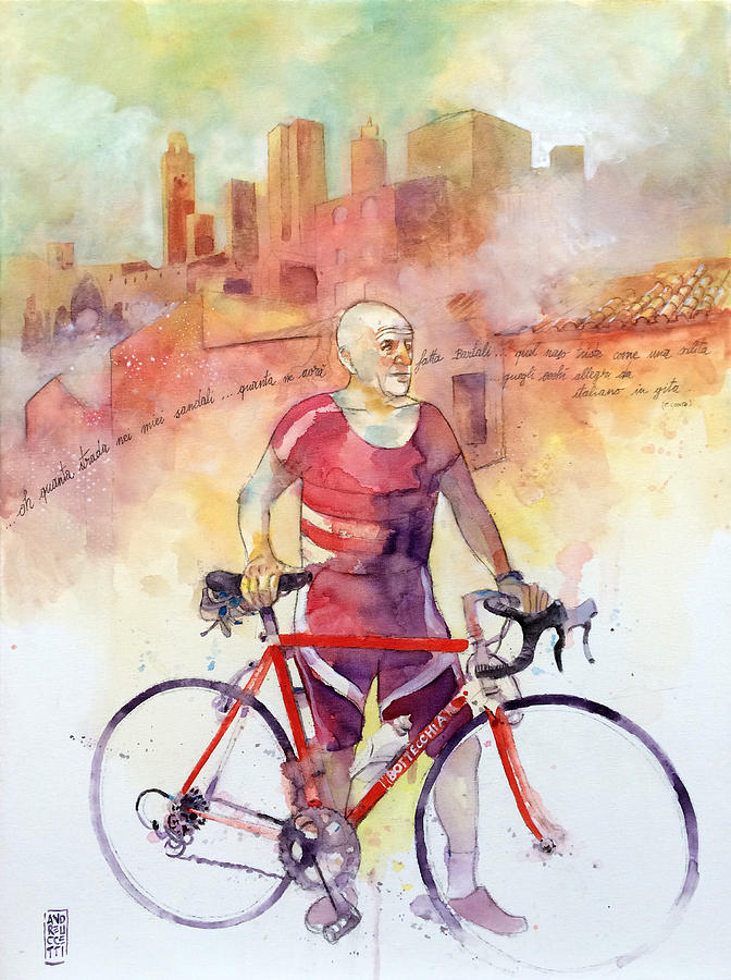Cyclist Painting - Vecchie Glorie by Alessandro Andreuccetti