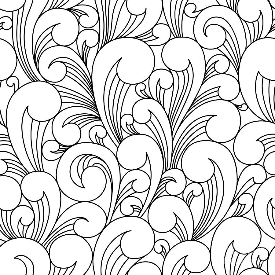 Line Digital Art - Vector Black And White Pattern With by Maria galybina
