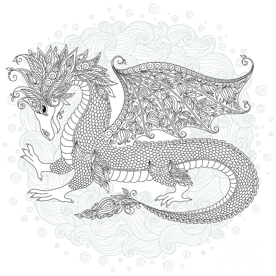 Dragon Digital Art - Vector Cartoon Dragon. Hand Drawn by Photo-nuke