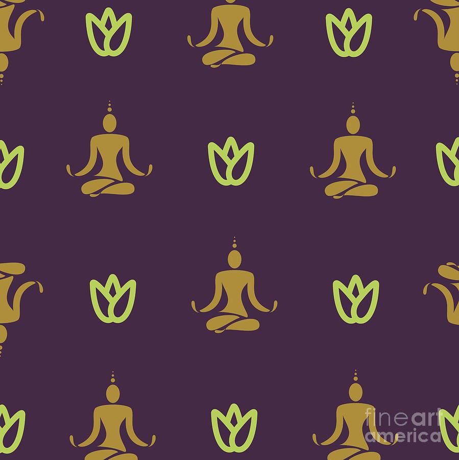 Symbol Digital Art - Vector Design Yoga Pose Pattern by Mattponchik