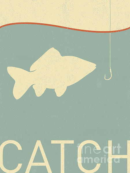 Beam Digital Art - Vector Fish And Fish Hook - Retro by Norph