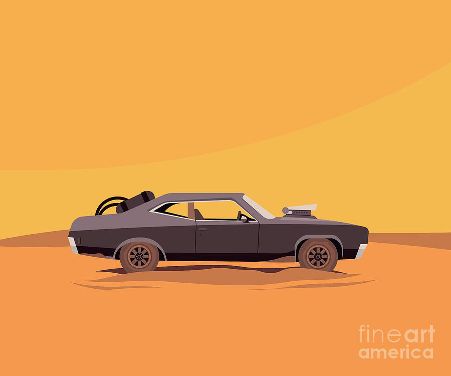 Motor Digital Art - Vector Flat Illustration Of A Vehicle by Supercaps