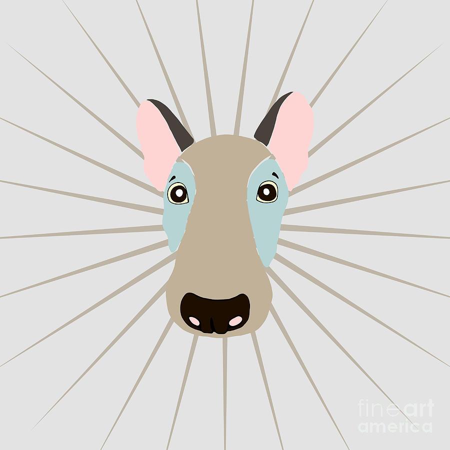 Beauty Digital Art - Vector Funny Head Of Dog On Vintage by Polanika