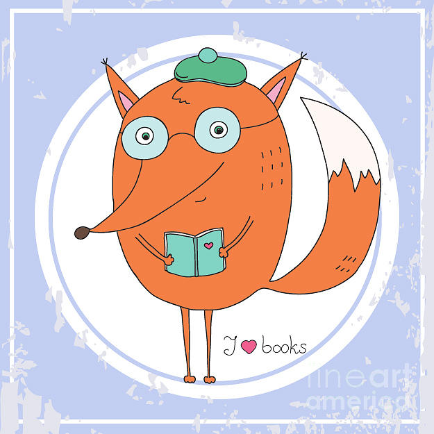 Education Digital Art - Vector Hand Drawn Fox With Book by Ronaleksandra