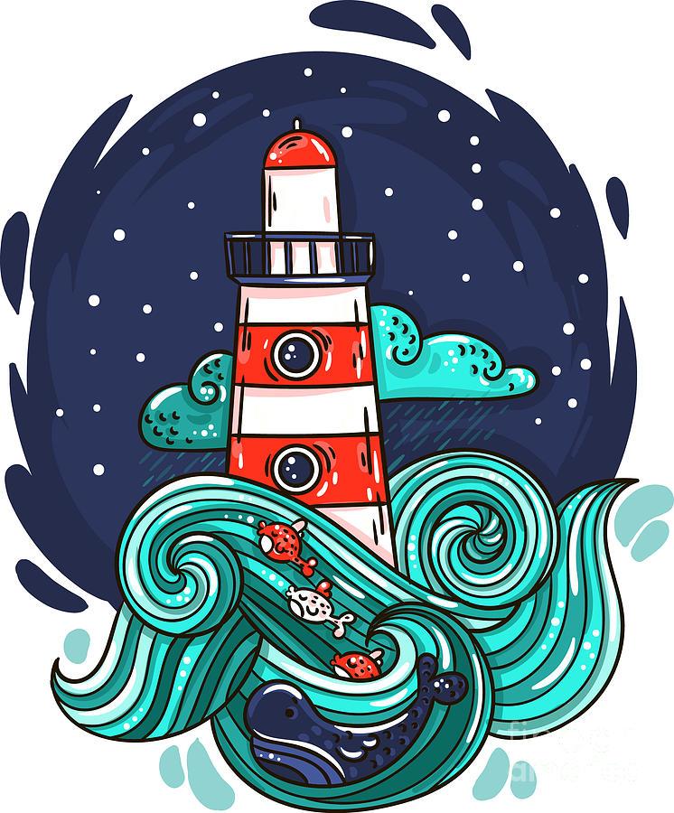 Beam Digital Art - Vector Illustration Lighthouse In Storm by Evasabrekova