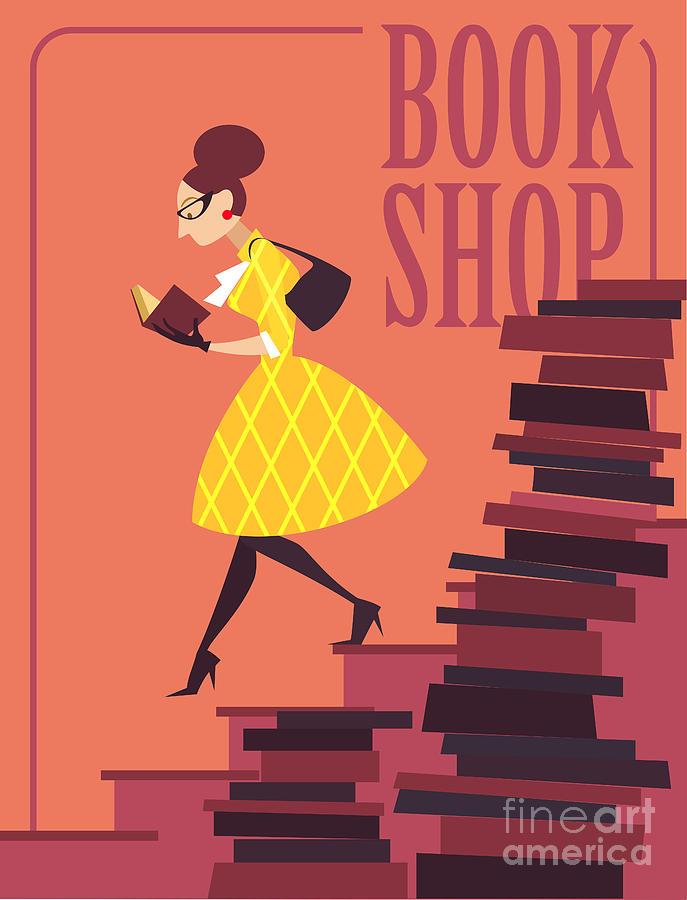 College Digital Art - Vector Illustration Of Bookstore, Books by Porcelain White