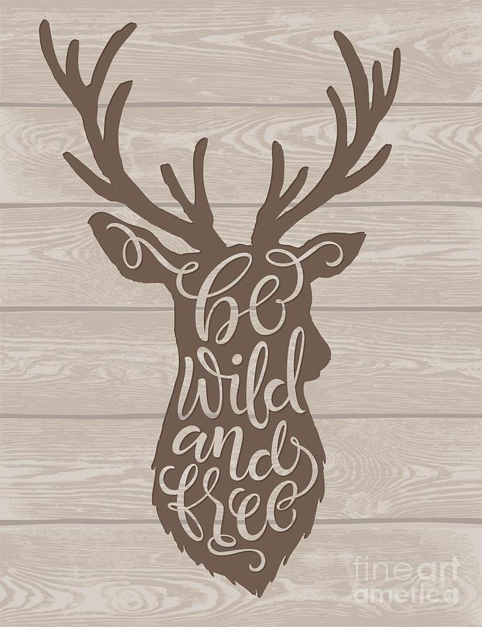 Deer Digital Art - Vector Illustration Of Deer Silhouette by Bariskina