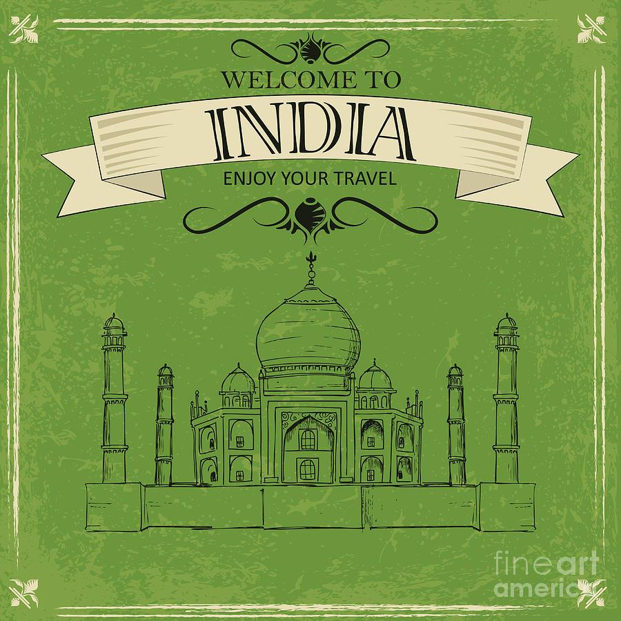 Scalable Digital Art - Vector Illustration Of Taj Mahal Of by Stockshoppe