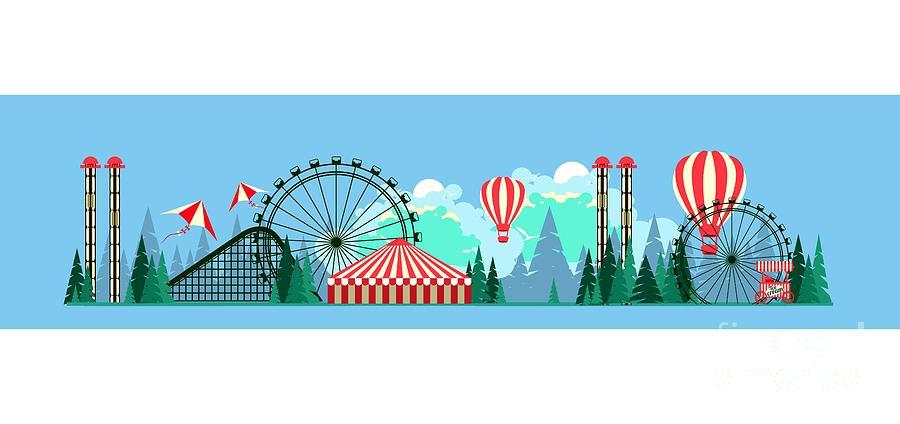 Symbol Digital Art - Vector Illustration Poster Amusement by Marrishuanna