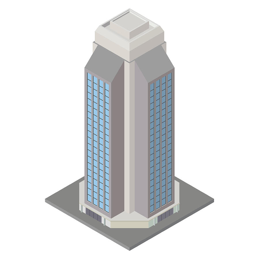 Vector Modern Isometric Building, 3d Element Representing Low Poly Building  For City Map Creation, Sites And Games by Lakoka