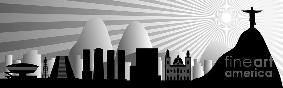 Brasil Digital Art - vector Rio de Janeiro skyline by Michal Boubin