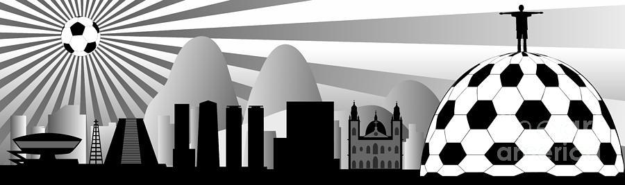 Brazil Digital Art - vector Rio skyline with ball by Michal Boubin