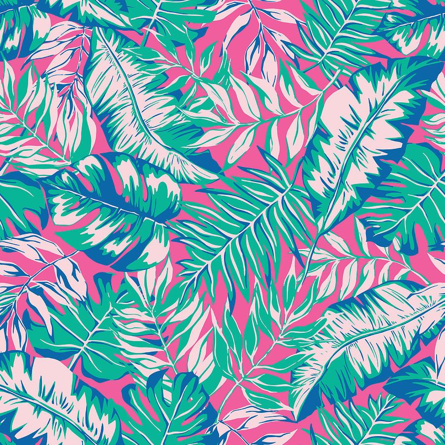 Vector Seamless Bright Tropical Digital Art by Katyagrib