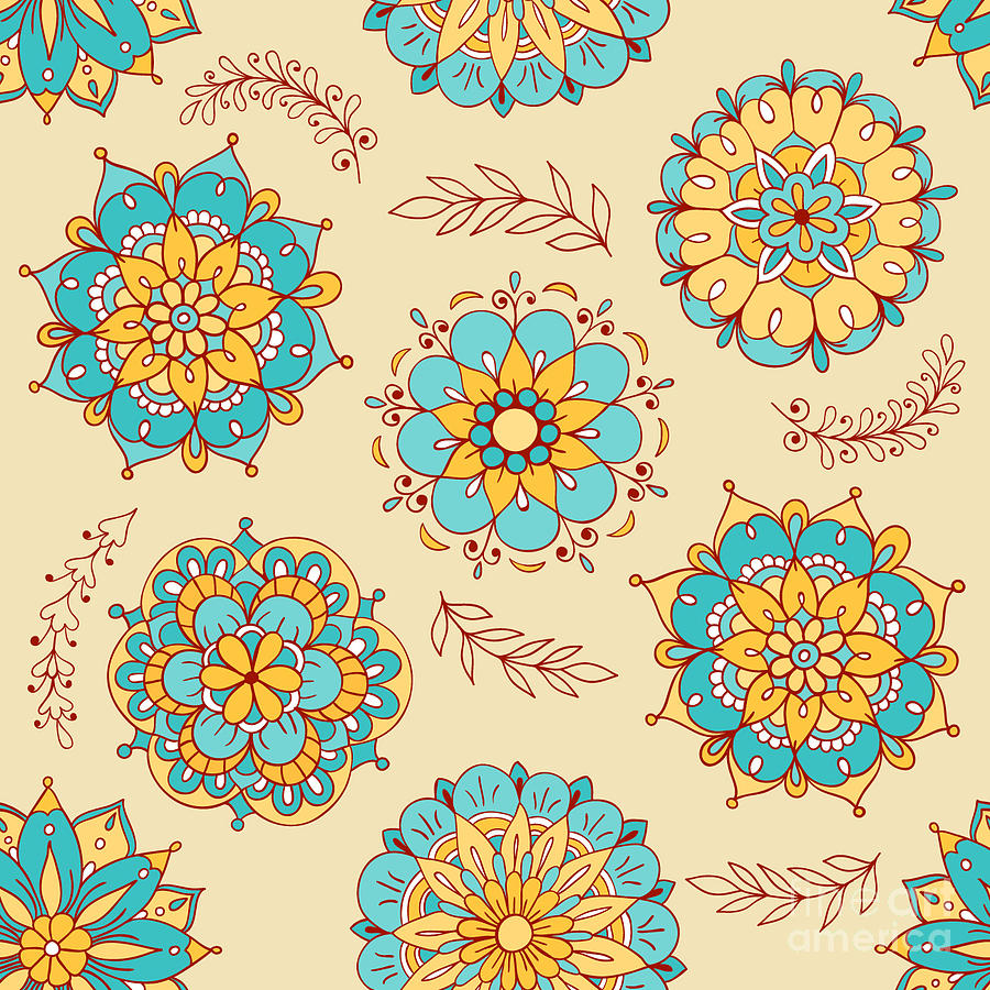 Seamlessly Digital Art - Vector Seamless Pattern, Doodling by Xox