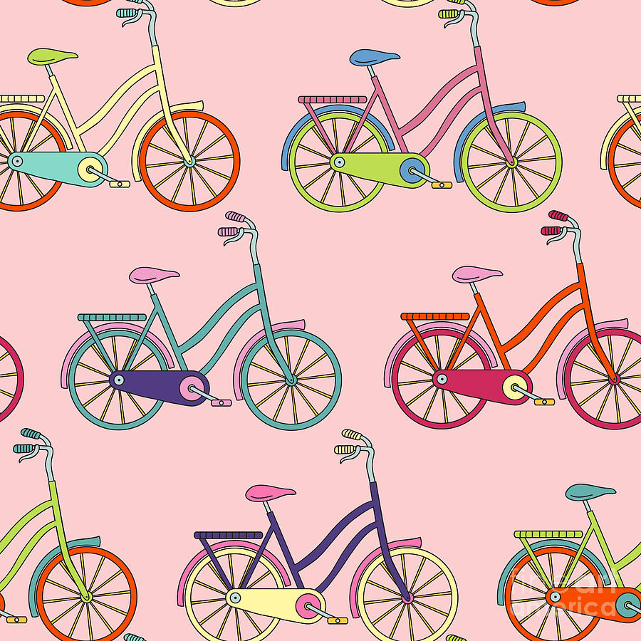 Bicycle Digital Art - Vector Seamless Pattern With Bicycle by Maria galybina