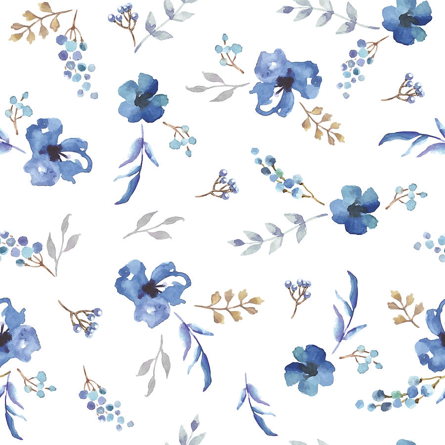 Vector Seamless Pattern With Blue Watercolor Flowers