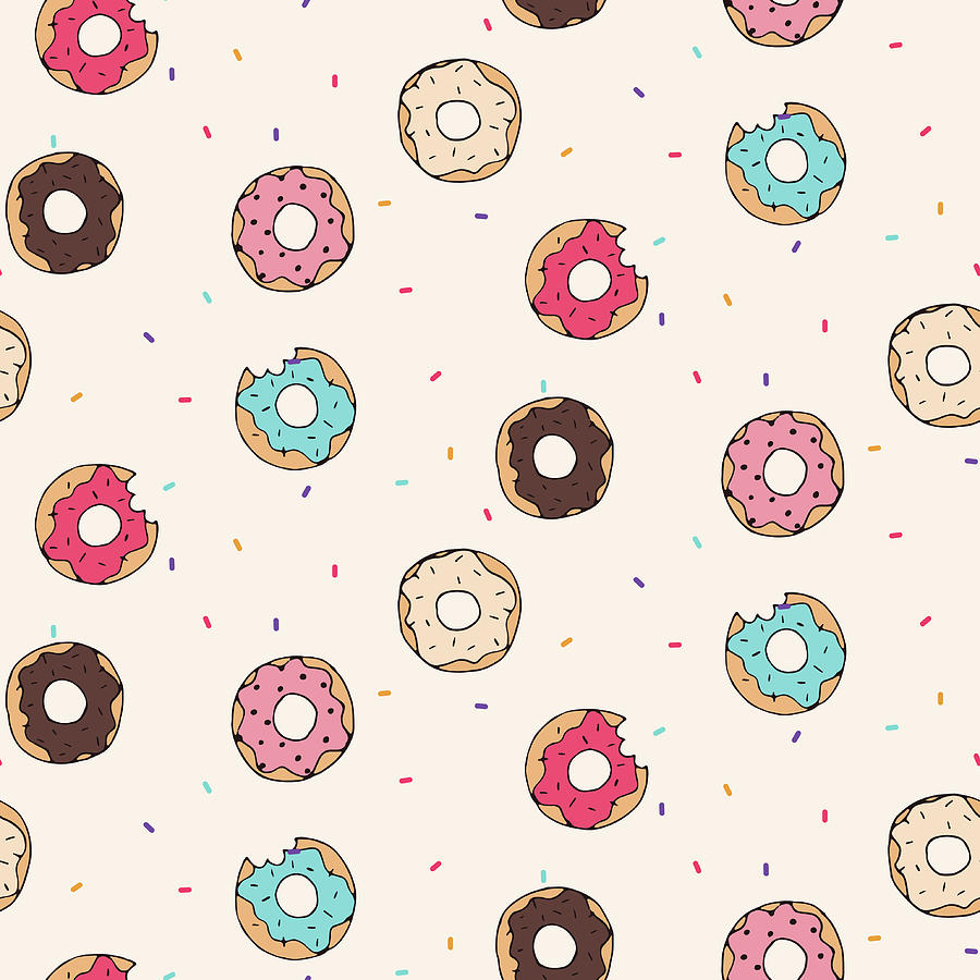 Vector Seamless Pattern With Donuts Digital Art by Victoria pineapple