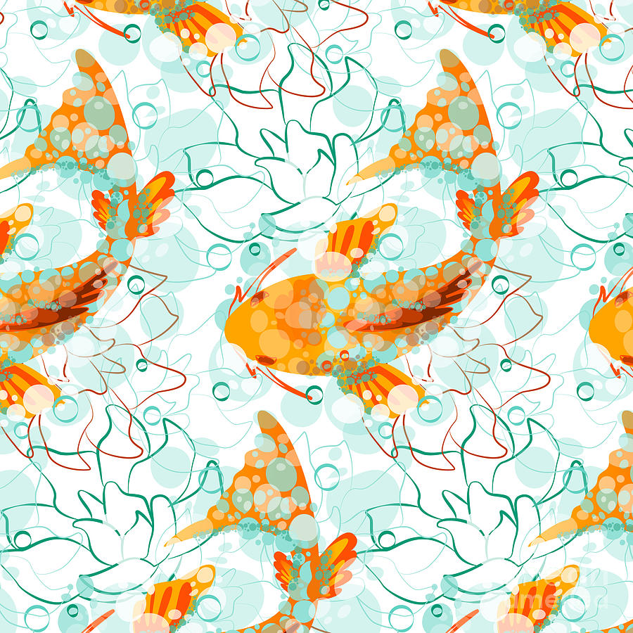 Pond Digital Art - Vector Seamless Pattern With Koi Fish by Derenskaya