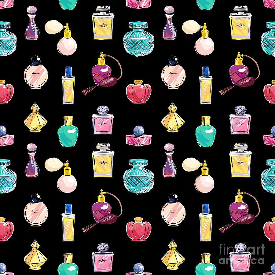 Gift Digital Art - Vector Seamless Perfume Pattern by Nina susik