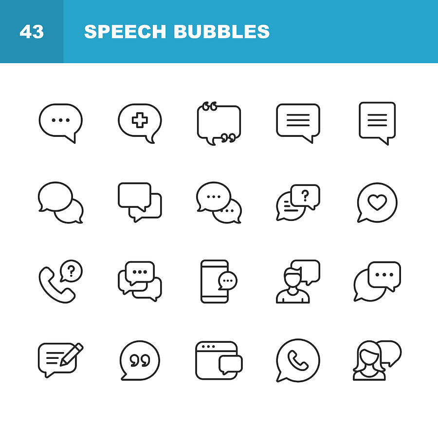 Vector Speech Bubbles and Communication Line Icons. Editable Stroke. Pixel Perfect. For Mobile and Web. Drawing by Rambo182