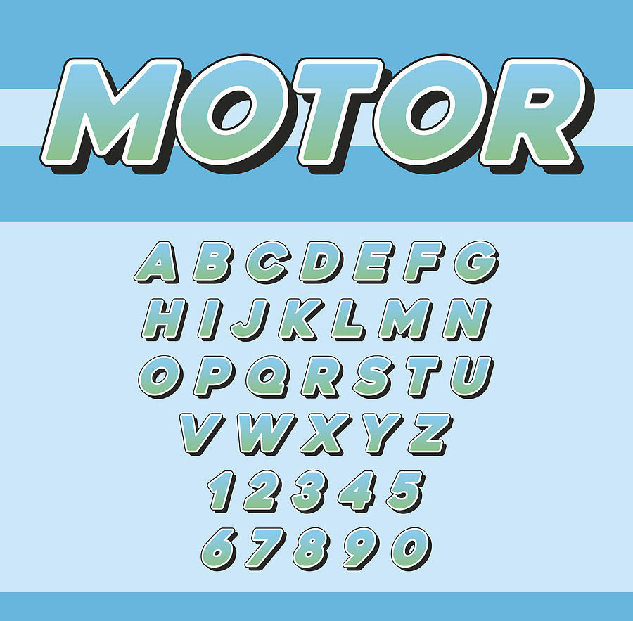 Vector Speed Racing Sport Italic Font With Letters And Numbers by Ckybes