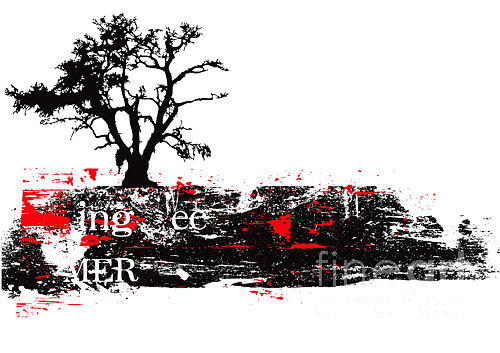 Torn Digital Art - Vector Tree On A Typographic Background by Ozger Sarikaya