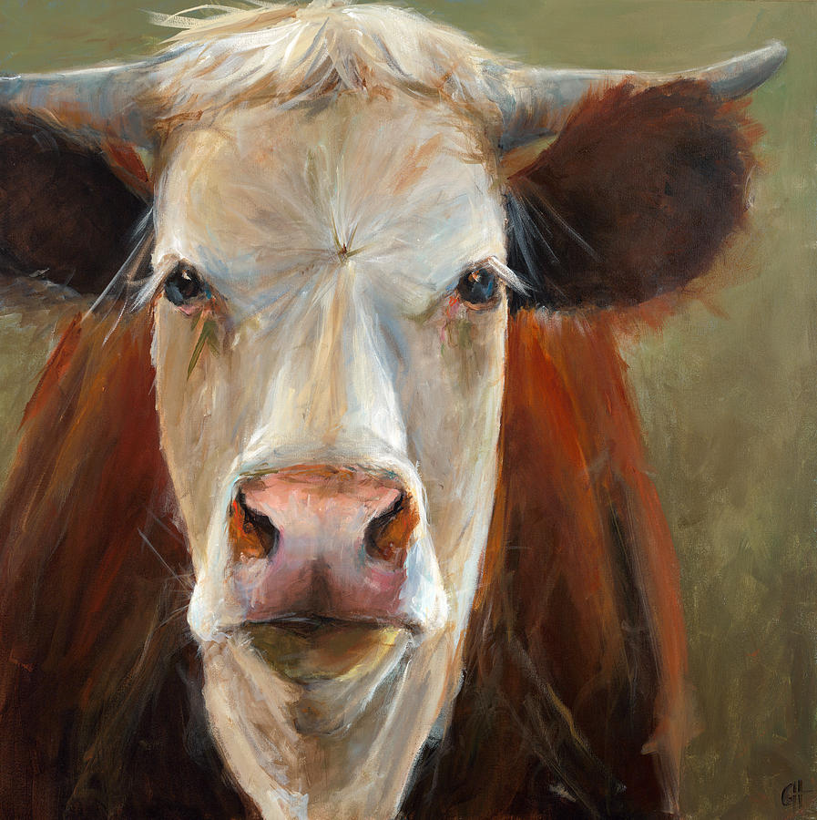 Cow Painting - Veda by Cari Humphry