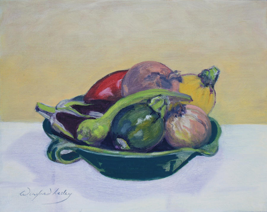 Vege In Green Bowl Painting by Winifred Lesley