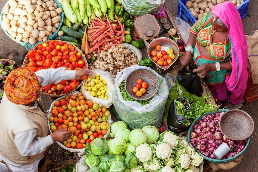 Vegetable Stall, Pushkar, Rajasthan Photograph by Peter Adams
