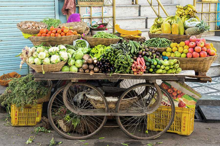 Vegetable Trolley, Udaipur, Rajasthan Photograph by John Harper