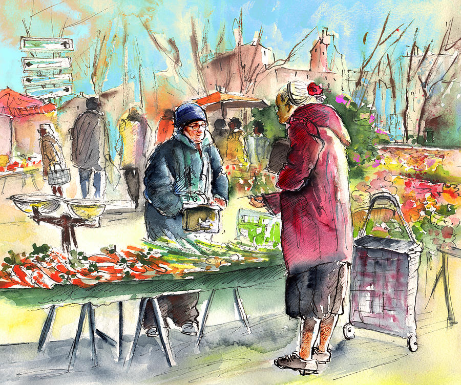 Vegetables Seller In A Provence Market Painting By Miki De