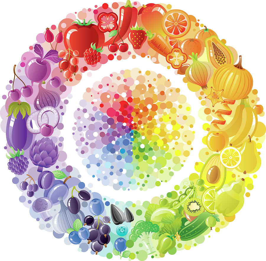 Vegetarian Rainbow Plate Withe Fruits Digital Art by O-che