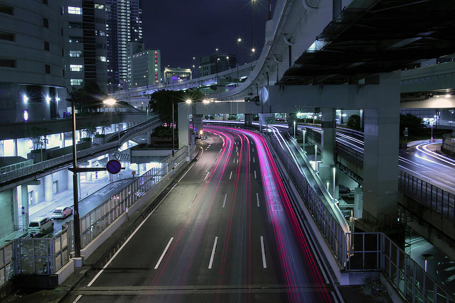 Vehicle Light Trails On National Route 1 Photograph by Digipub