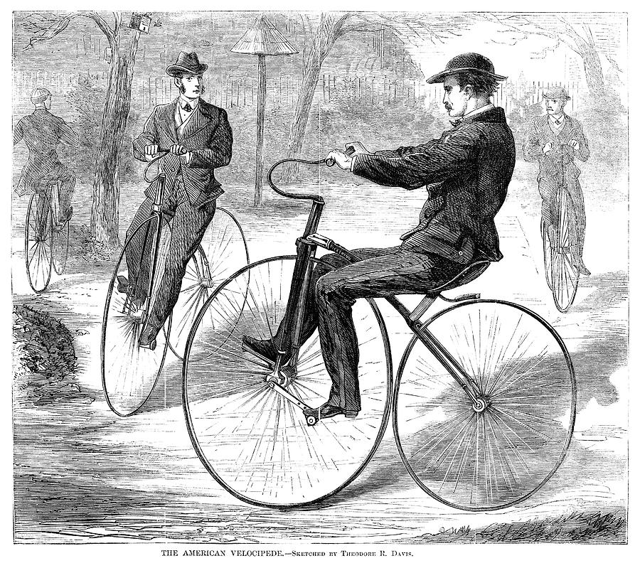 1868 Painting - Velocipedes, 1868 by Granger