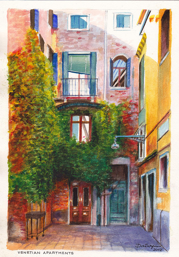 Venice Painting   Venetian Apartments In Venice Italy By Dai Wynn