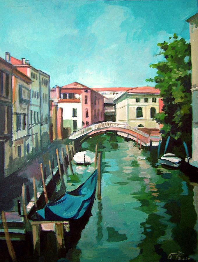 Waterway Painting - Venetian Channel 2 by Filip Mihail