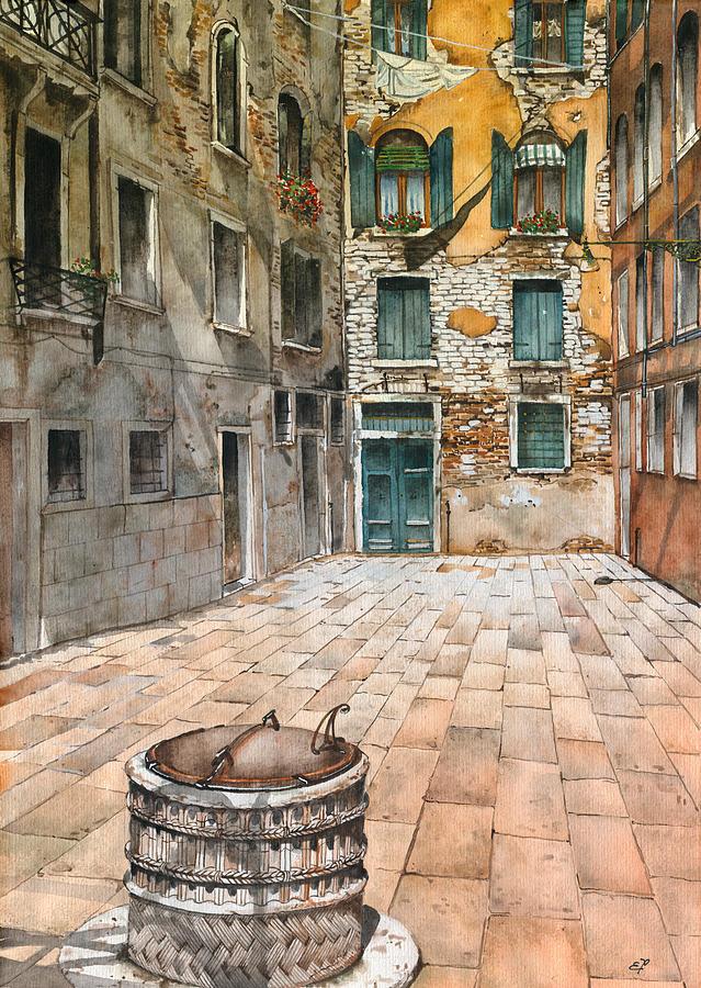 Venetian Courtyard 02 Elena Yakubovich Painting