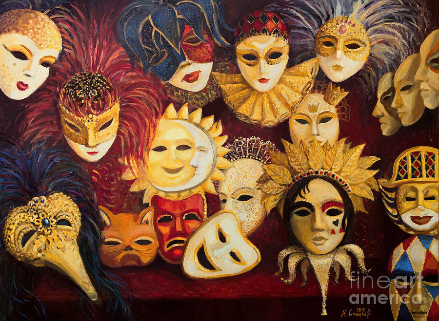 Illustration Painting - Venetian Masks by Kiril Stanchev