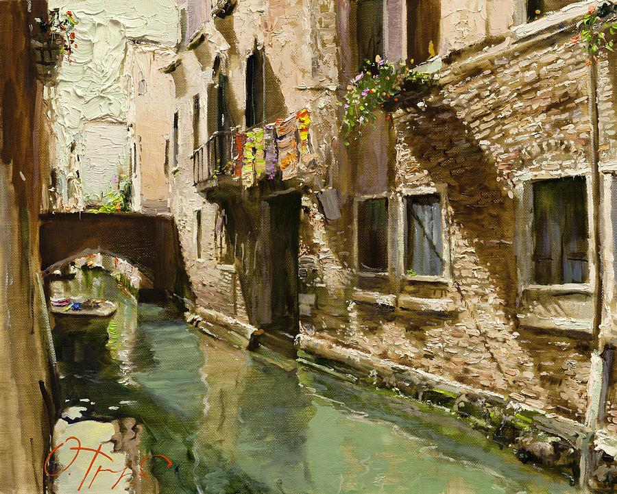 Venice Painting - Venetian Solar Street by Oleg Trofimoff