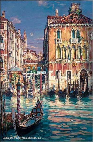 Venetian Sunset Painting by Cao Yong