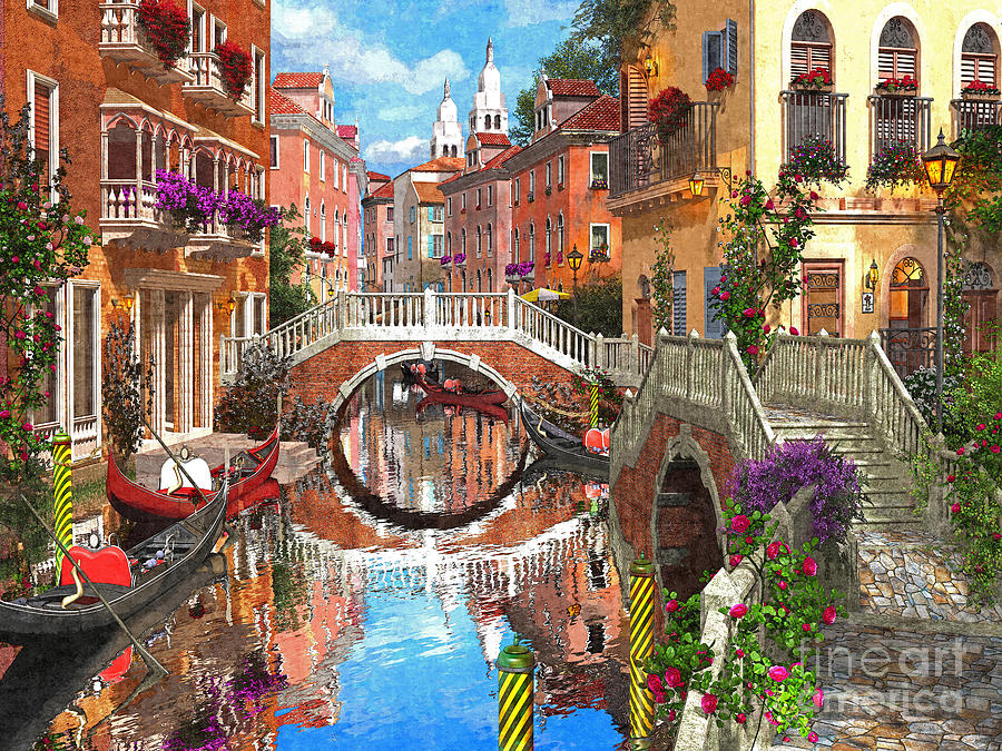 Venice Digital Art - Venetian Waterway by Dominic Davison