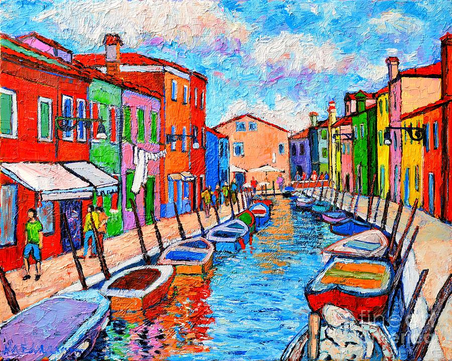 Venezia Colorful Burano Painting By Ana Maria Edulescu