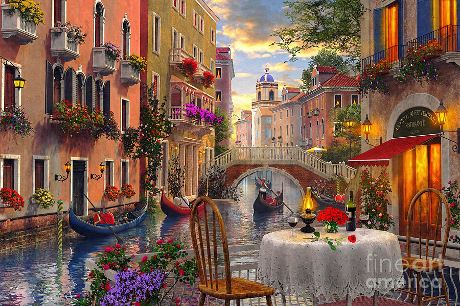 Dominic Davison Digital Art - Venice Al Fresco by MGL Meiklejohn Graphics Licensing
