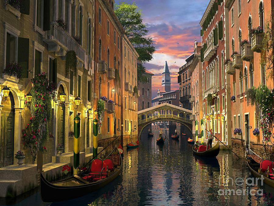 Venice Digital Art - Venice At Dusk by Dominic Davison