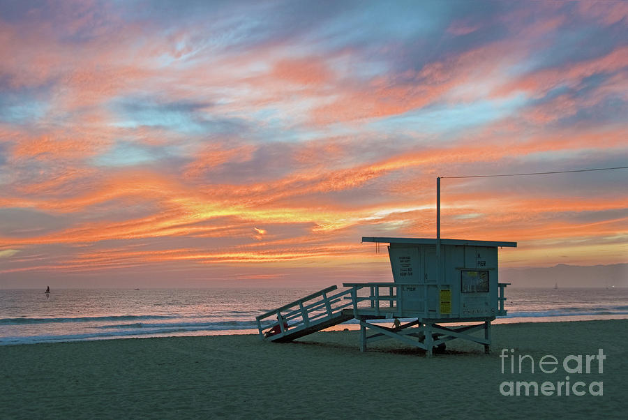 Venice Beach Photograph - Venice Beach Lifeguard Station Sunset by David Zanzinger