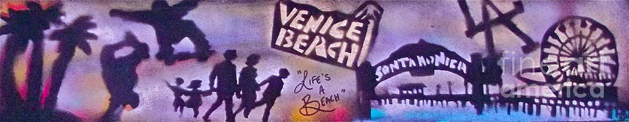 Graffiti Painting - Venice Beach To Santa Monica Pier by Tony B Conscious