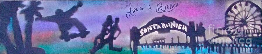 Graffiti Painting - Venice Beach To Santa Monica  Purple by Tony B Conscious