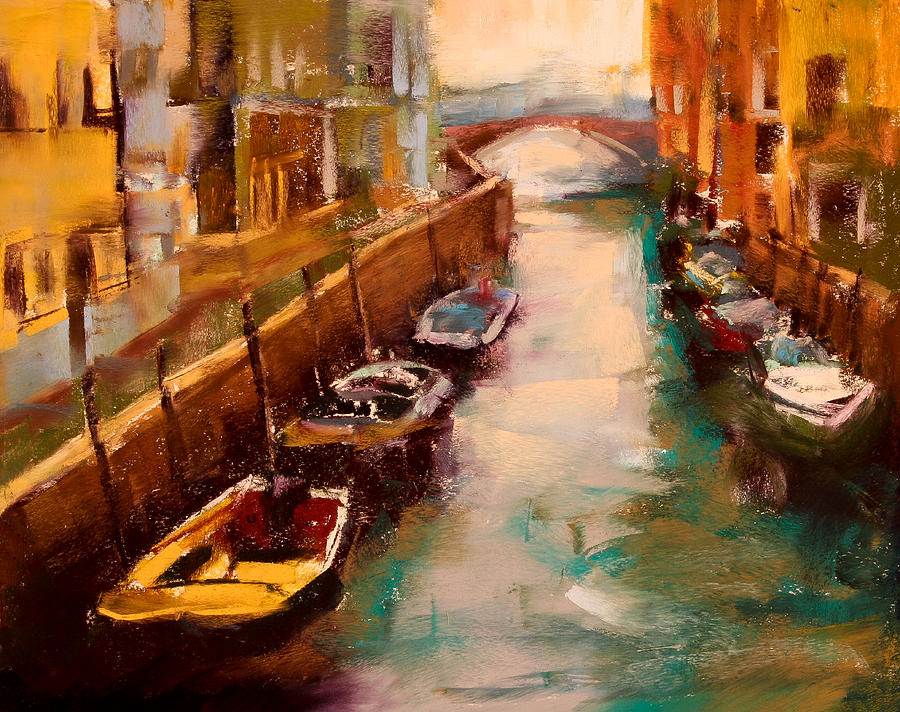 Venice Canal Pastel By David Patterson