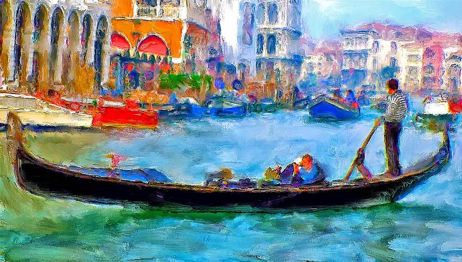 Venice Digital Art - Venice Canals Gondola by Yury Malkov